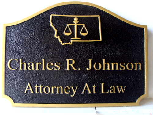 A10014 - Black and Gold Sandblasted Attorney Sign with Raised Letters, Montana