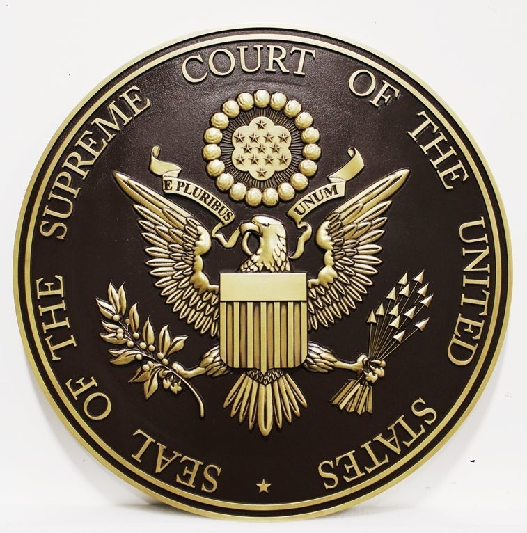 FP-1017 - Carved 3-D Brass-Plated Plaque of the Seal of the United States Supreme Court