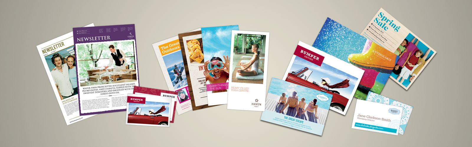 Flyers, brochures, and manuals