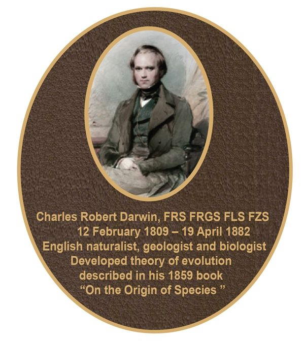 RP-2020- Carved Memorial Plaque for Charles Darwin, Brass Plated Plaque with a Giclee Photo