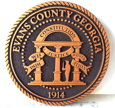 X33346 - 2.5-D Carved Bronze-Coated HDU Wall Plaque of the Seal of  Evans County, Georgia