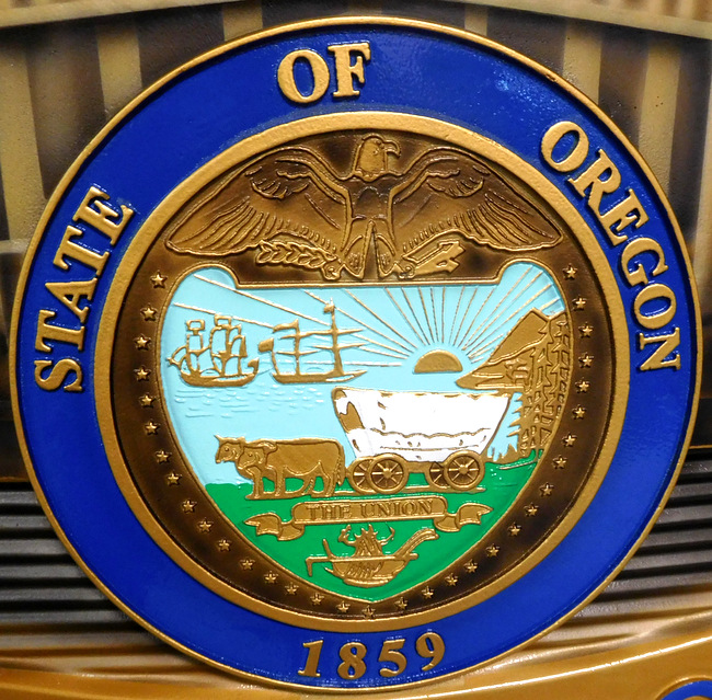 X33446 - Close-up Photo of Oregon Seal on Wall Plaque for Medford, Oregon Police Department