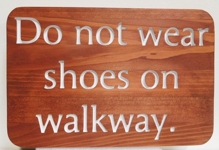 """GB16345 - Carved  Carved Western Red Cedar Wood Rules Sign """"Do not wear shoes on walkway""""  for a Swimming Pool"""