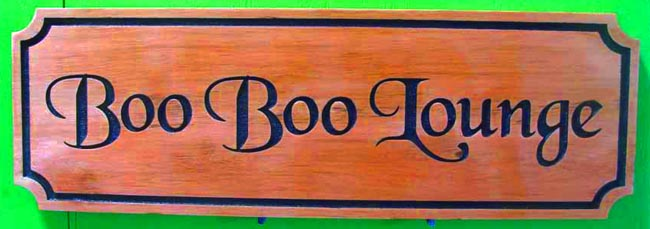 "RB27125 - Stained Cedar Cocktail Lounge Sign for the ""Boo Boo Lounge"""