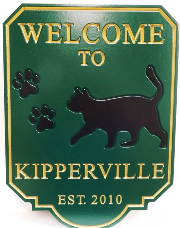 "I18609 - Carved High-Density-Urethane (HDU)  Property Name Sign  ""Welcome to Kipperville"", with Black Cat and Pawprints as Artwork"