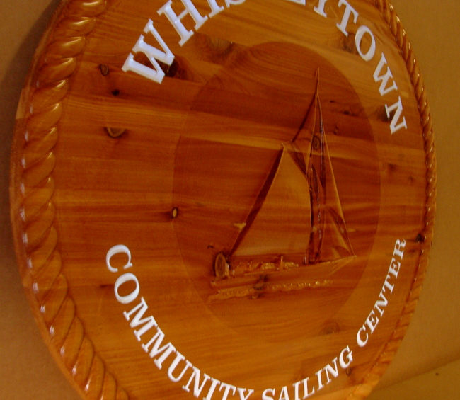 L21997 - Carved 3-D Wood Wall Plaque for Community Sailing Center, with Sailboat and Rope Border