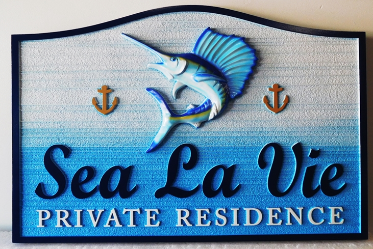 "L21361 – Carved 3-D HDU Coastal Home Address  Sign, ""Sea La Vie"", with Leaping Sailfish"