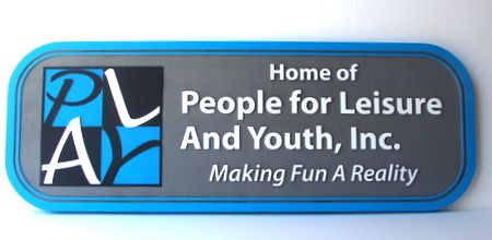 "M5170 - Large Carved Wood Commercial Sign for ""People for Leisure"" with ""PLAY""  Logo"