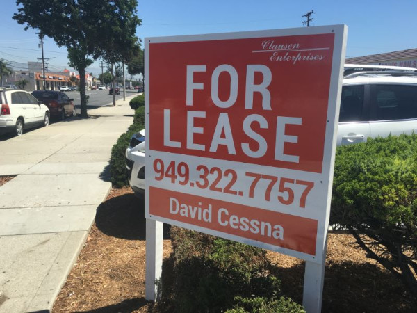 Commercial property anti-graffiti for lease signs in Orange County CA