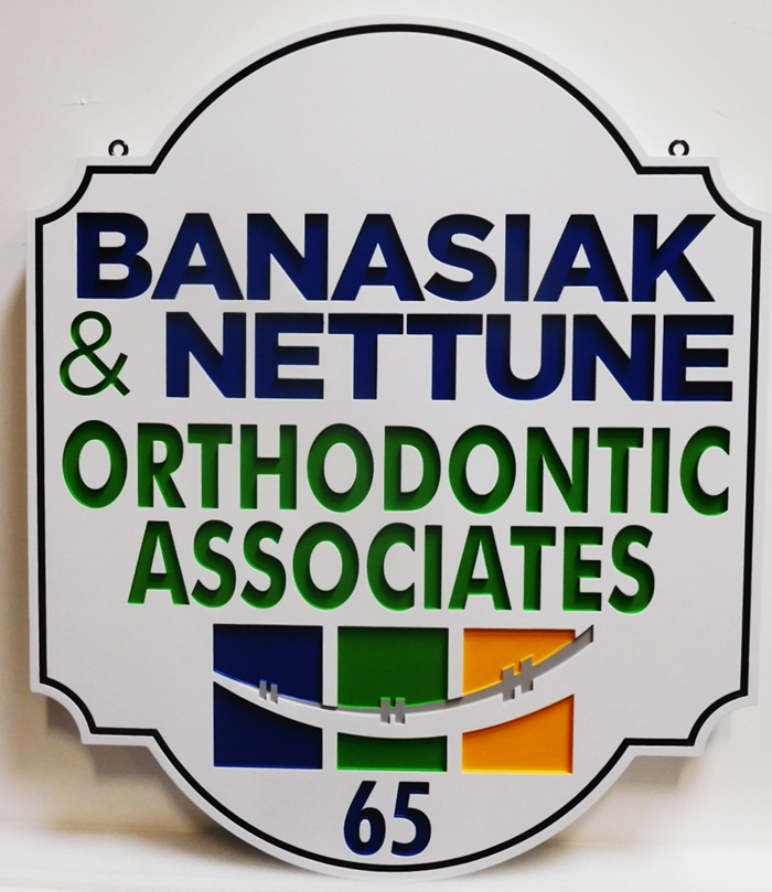 "BA11540 - Engraved HDU Sign for the Office of ""Banasiak & Nettune Orthodontic Associates"""