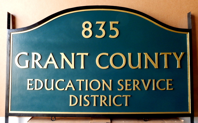 F15089 - Carved HDU Sign with Street Number for Grant County Educational Service District