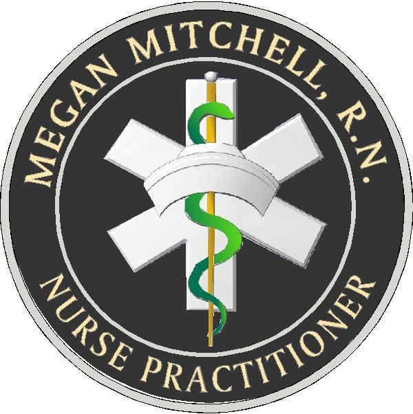 B11046 - Carved 3-D HDU Wall Plaque for Nurse Practitioner with R.N. Emblem