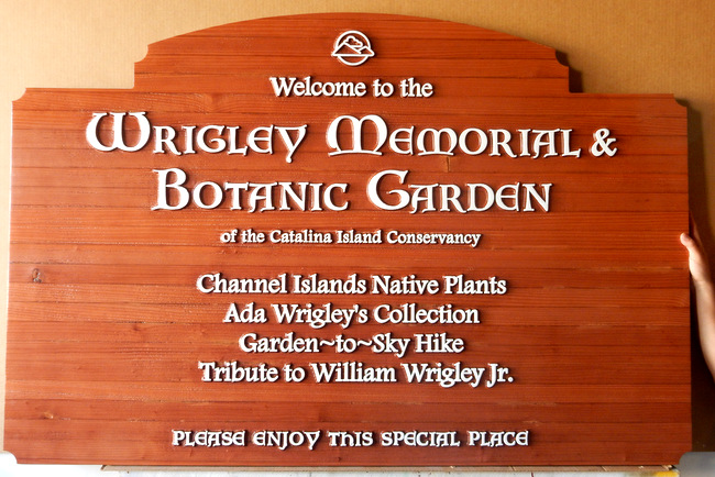 GA16448 - Carved Redwood Sign for Wrigley Memorial Park and Botanic Garden, at  the Catalina Island Conservancy