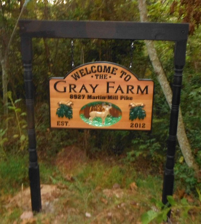 O24554A - Cedar Farm Sign installed on Two Post Hanger