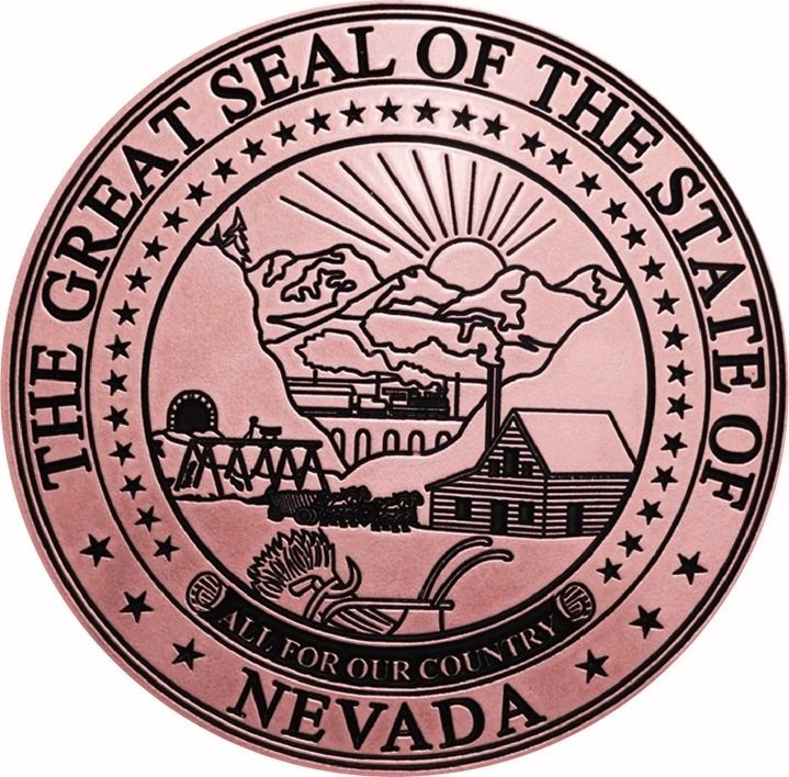M7220 - Engraved Copper-plated  High-Density-Urethane (HDU) Wall Plaque of the Great Seal of  the State of Nevada