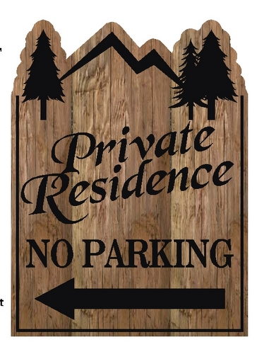 M22098 - Carved Wood Private Residence No Parking Sign