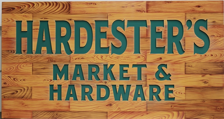 S28162 -  Engraved  High-Density-Urethane (HDU) Sign for Hardester's Market & Hardware, Painted in a Faux Wood Pattern