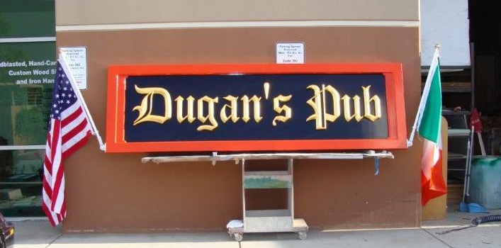RB27510 - Irish Pub Entrance Wall Sign, Black and Red with Gold-leaf Gilded Old English Cutout Letters