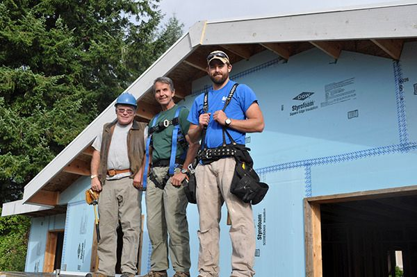 From left to right: Volunteers Bob Tiemeyer and Bill Terrill and Forks Construction Supervisor Connor Nielson.