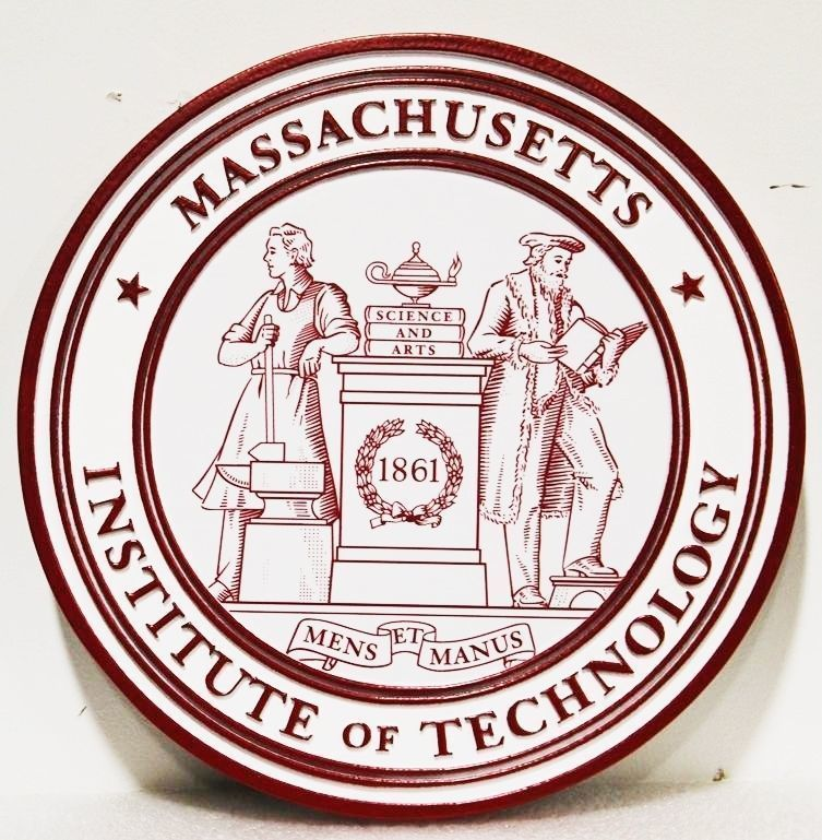 Y34341 - Carved and Engraved HDU Plaque of the Seal of the Massachusetts Institute of Technology (MIT)