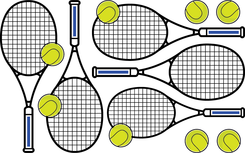 Graphic of tennis rackets and tennis balls