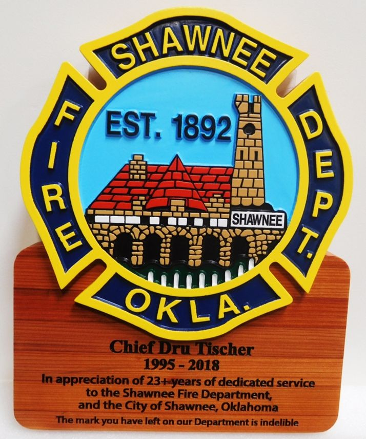 QP-1200 - Carved Retirement Wall Plaque of  the Emblem/Badge of the  Fire Department, Shawnee, Oklahoma, Artist Painted on Cedar Wood
