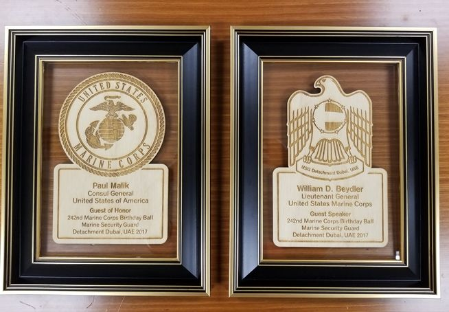 V31489- Laser Engraved Wall Plaques for the Guest of Honor and Guest Speaker at the 242nd Birthday Marine Corps Ball  .