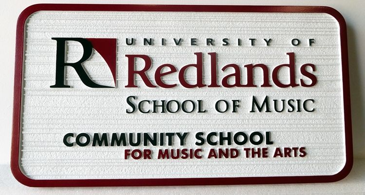 "FA15611 - Carved and Sandblasted Wood Grain Sign for ""Redlands School of Music"""