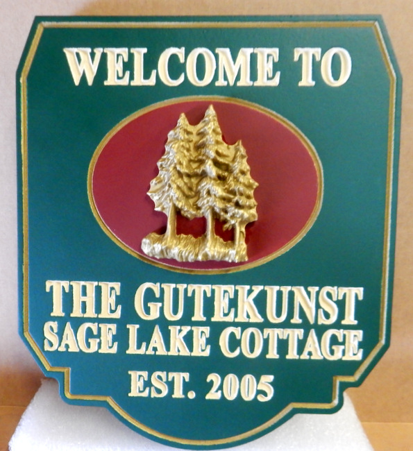 M22055 - Sage Lake Cottage Welcome Sign with 3-D Pine Trees