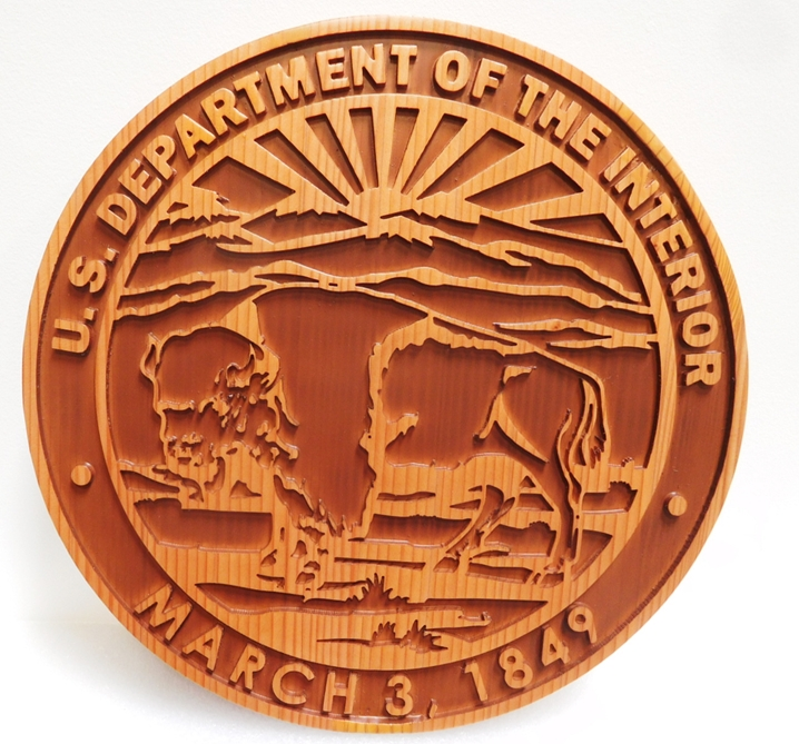 AP-5640- Carved Plaque of the Seal of the Department of the Interior,  2.5-D Outline Relief Artist Painted in Two Colors
