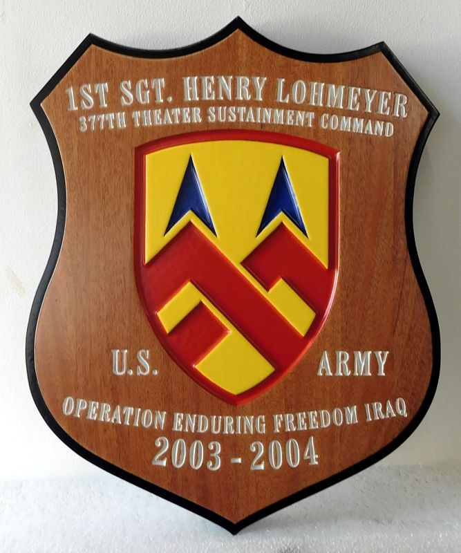 V31877 -  Personalized Mahogany Wood Shield Plaque with Carved Crest of Unit, for First Sergeant Henry Lohmeyer