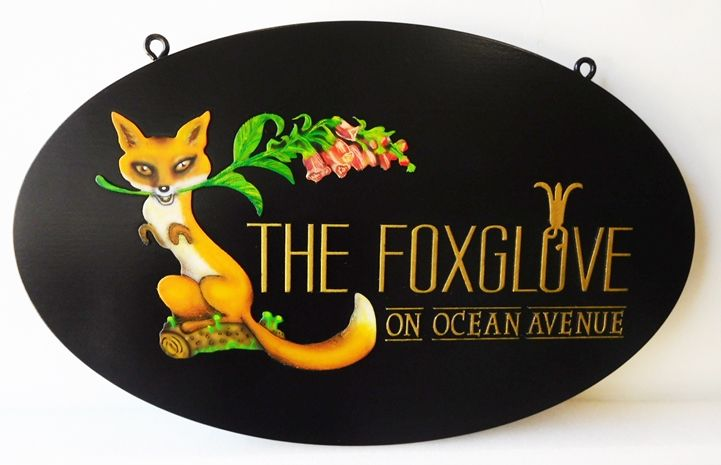 "I18555- Carved High-Density-Urethane (HDU)  Property Name ign  ""The Foxglove on Ocean Avenuer"", with Full-Color Painted Fox as Artwork."