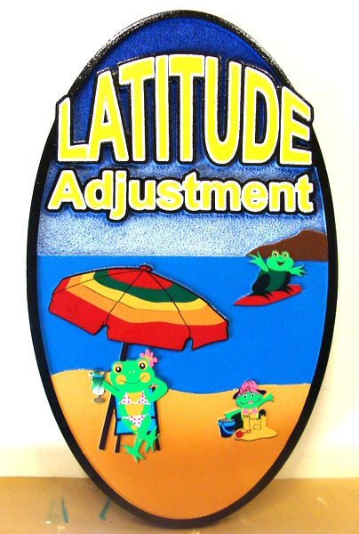 "L21068 - Carved and Sandblasted HDU Sign for Beach House,  with Frogs, Umbrella and Beach, ""Latitude Adjustment"""