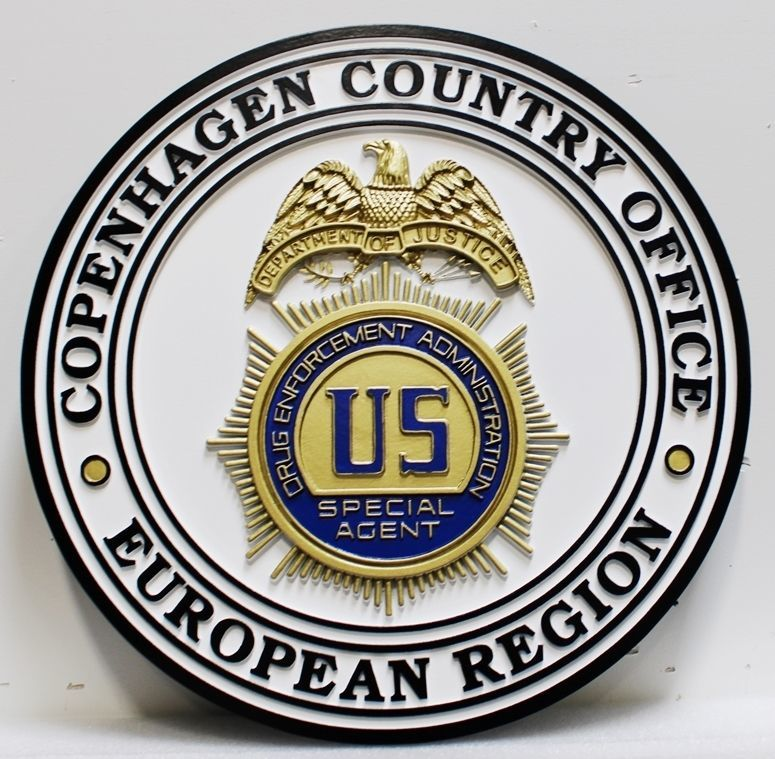 PP-1548 - Carved 3-D HDU Plaque of the Badge of a Special Agent of the Drug Enforcement Administration (DEA), Copenhagen Country Office, European Region