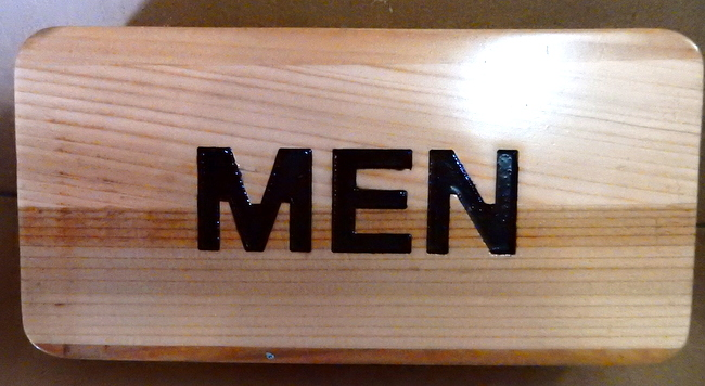 "GB16793A - Carved, Wood Grain Pattern, HDU Sign for ""Men"" (Men's Room)"