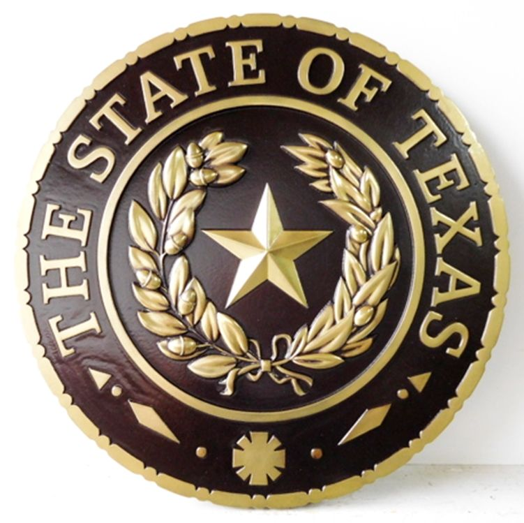GP-1390 - Carved Plaque of the Seal of  the State of Texas, Brass Plated with Hand-Rubbed Black Paint
