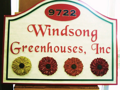 M2833 - Carved Flower Greenhouse Entrance Sign