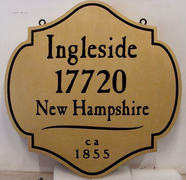 "I18150 - Engraved Property Address Sign ""Ingleside"", in Colonial Style"