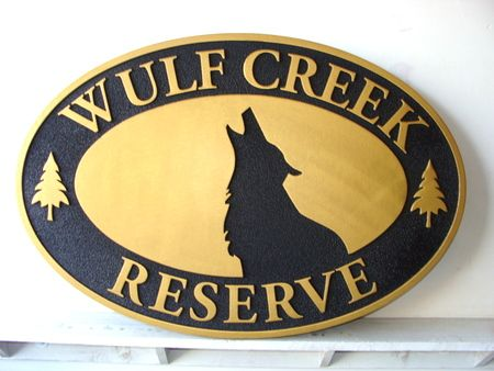 AG122 - Carved Cabin Sign, with Howling Wolf