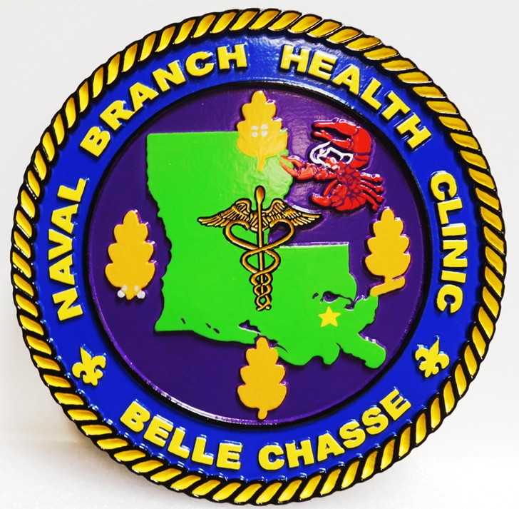 JP-2490 - Carved Plaque of the Seal of the Naval Branch Health Clinic, 2.5-D Multi-Level Raised Relief, Artist-Painted