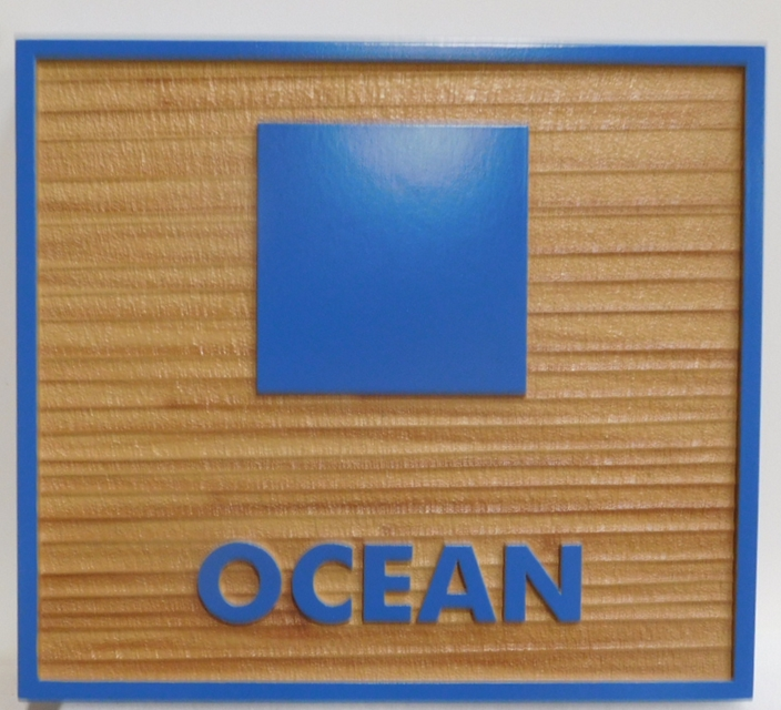 "L21182 - Carved and Sandblasted Coastal Residence sign ""Ocean"" features a Stylized Square Symbol of the Blue Ocean"