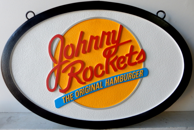Q25817 - Carved, HDU, Outdoor, Hanging Sign for Johnny Rocket The Original Hamburger Restaurant