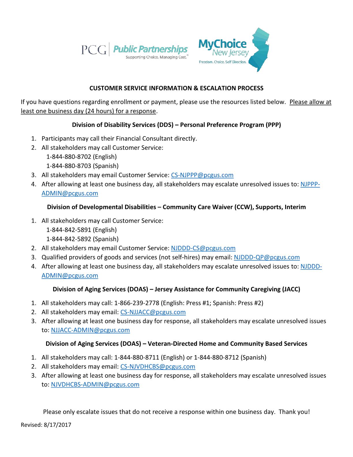 DDD Self-Directed Employee (SDE) - CUSTOMER SERVICE INFORMATION & ESCALATION PROCESS
