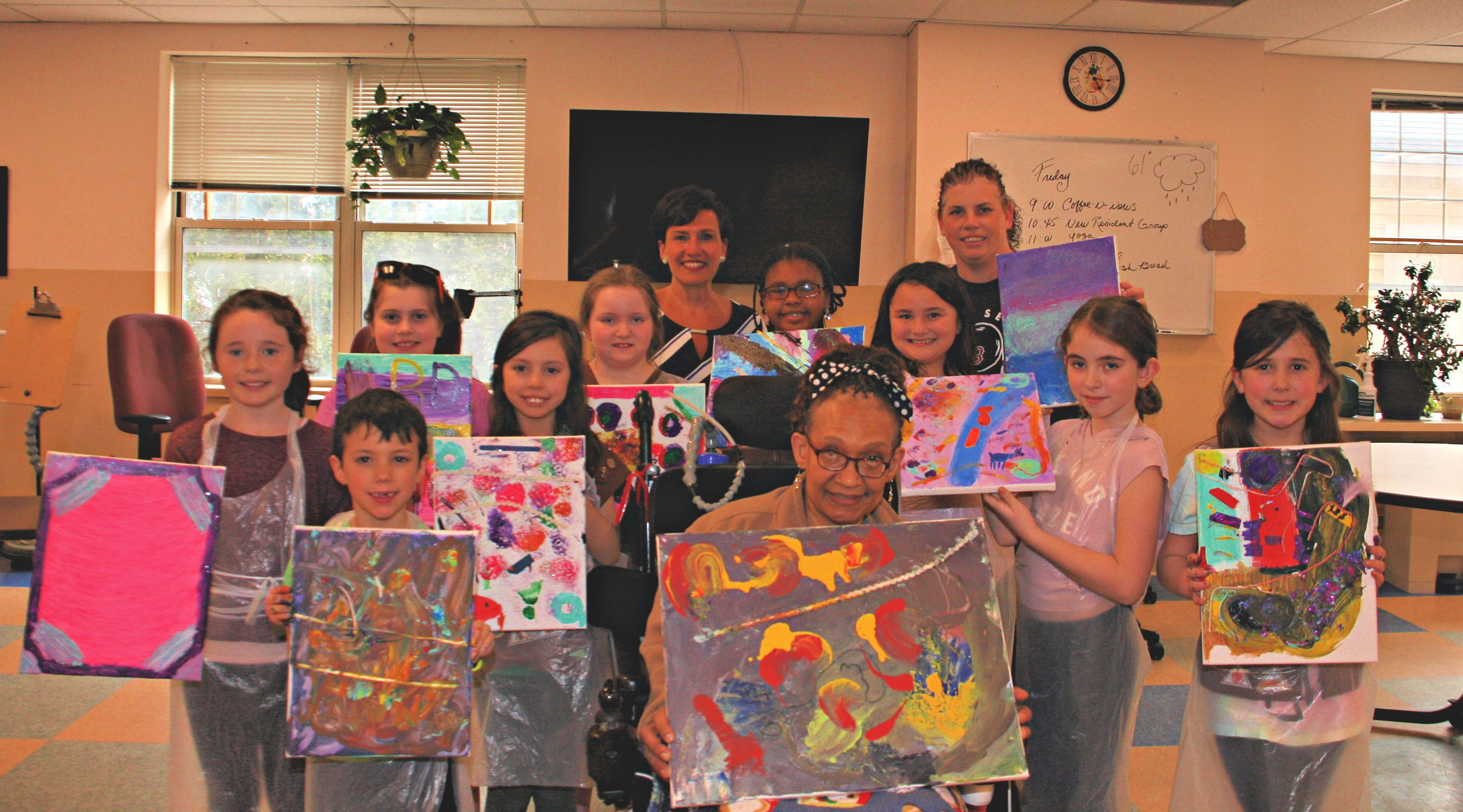 Boston Home Resident and former Girl Scout, Wanda Jordan-Gray  helps Quincy Girl Scout Troup earn Art Badge