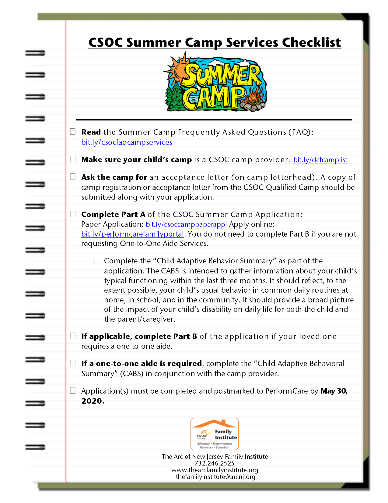 CSOC Summer Camp Services Checklist