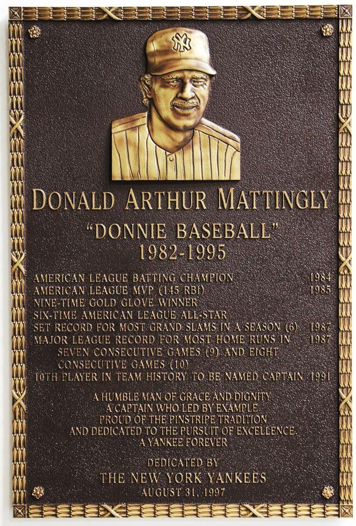 "GC16511 - 3-D Brass Wall Plaque Honoring Donald Mattingly, ""Donnie Baseball"", a New York Yankees Star Baseball Player"