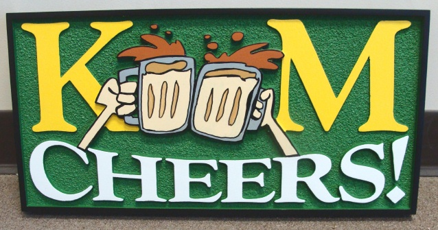 Y27580 - Irish Cheers Wall Plaque with Beer Mugs