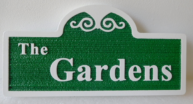 "GA16433 - Carved, Sandblasted Wood Grain Pattern, HDU Sign for ""The Gardens"", 2.5-D Artist-Painted"