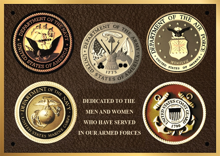 ZP-1010- Carved Memorial Wall Plaque honoring  the Servicemen & Women  Who  Have Served in  Armed Forces, Painted Brass and Bronze