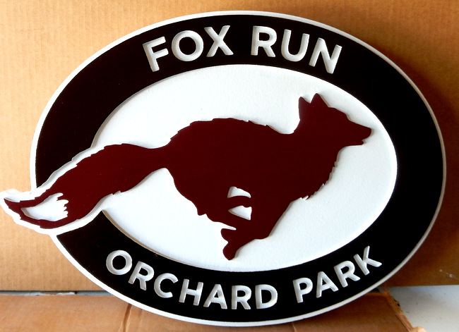 K20174 - Carved HDU Sign for Fox Run Ochard Park with Silhouette of Running Fox